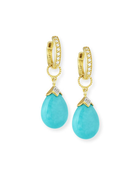 JudeFrances Jewelry 18k Gold Turquoise and Diamond Earring