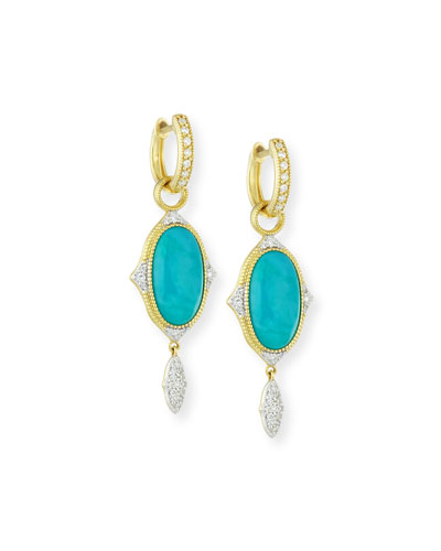 18k Large Moroccan Turquoise & Diamond Earring Charms