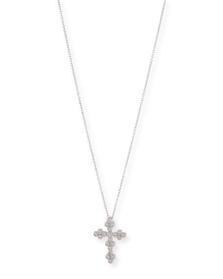 JudeFrances Jewelry Provence Tiny Diamond Cross Pendant Necklace