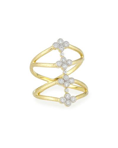 Provence Four Quads Diamond Crisscross Ring