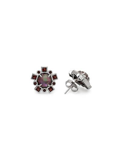 Verona Triplet Garnet Stud Earrings