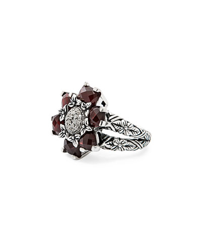Red Garnet and Diamond Flower Ring
