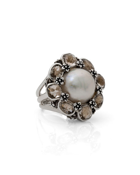 Pearl & Smoky Quartz Floral Ring