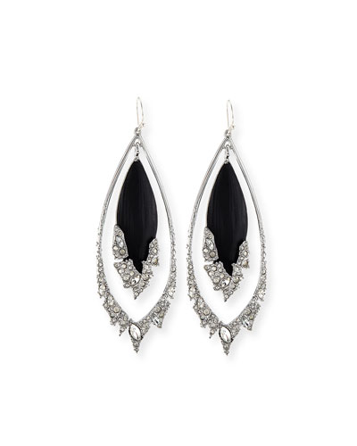 Fragmented Orbital Drop Earrings, Black