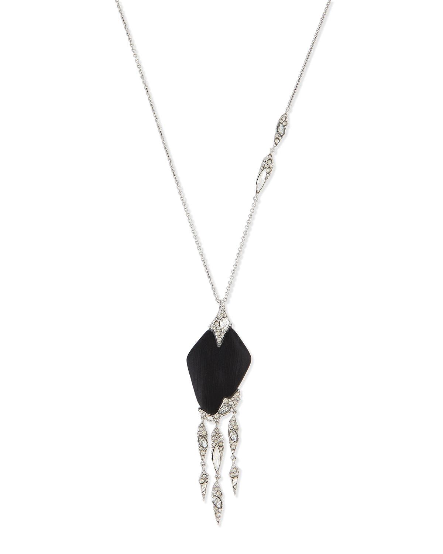 Alexis Bittar Crystal Lace Fringe Pendant Necklace, 32