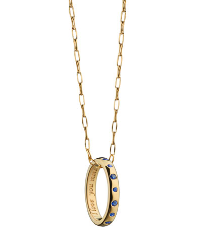 18k Gold Posey Sapphire Ring Necklace