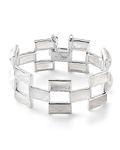 Ippolita 925 Rock Candy Mosaic Bracelet in Clear Quartz/Mother-of-Pearl