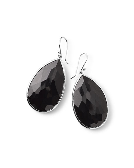925 Rock Candy Large Pear Earrings in Onyx