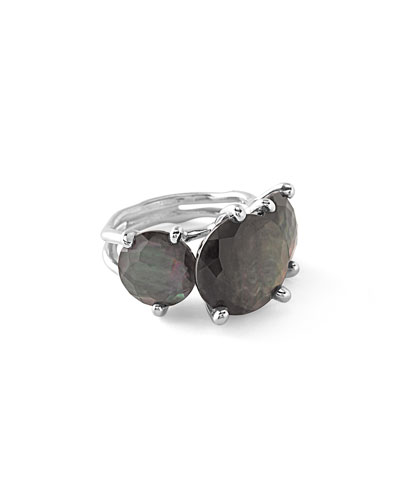 Rock Candy 3-Station Cocktail Ring in Black Shell