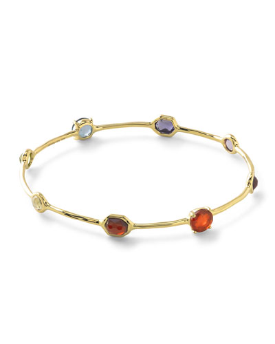 18k Rock Candy Fall Rainbow Station Bangle Bracelet