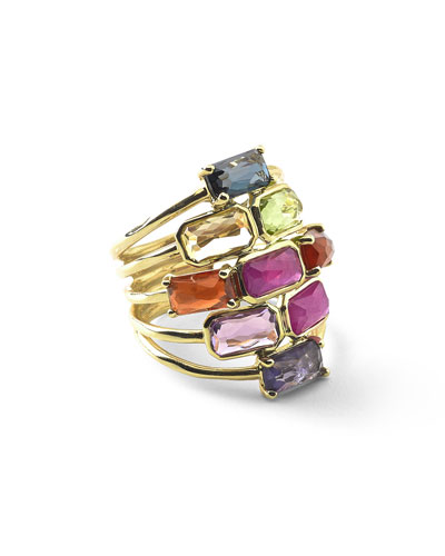 18k Rock Candy Mosaic Cascade Ring, Fall Rainbow
