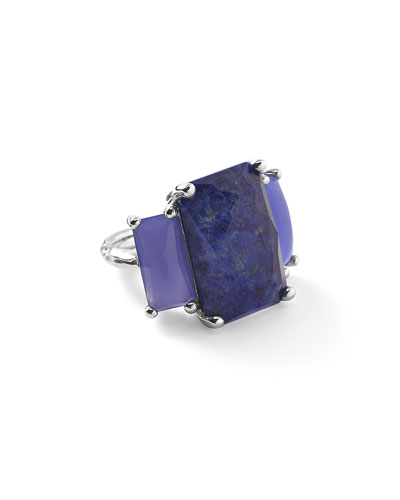925 Rock Candy 3-Stone Rectangle Ring in Lapis/Agate