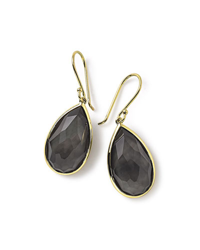 18k Rock Candy Single Teardrop Earrings in Black Shell