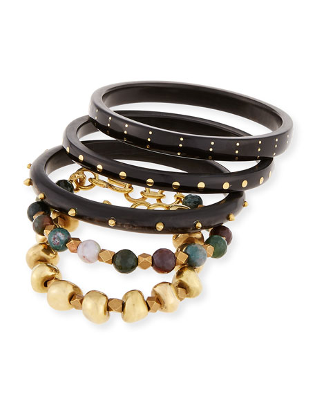 Ashley Pittman Mwisho Dark Horn Bangles, Set of