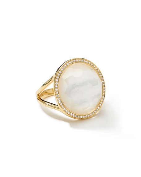 Small Diamond-Bezel Mother-of-Pearl Lollipop Ring