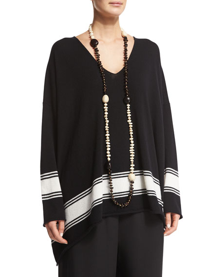eskandarSingle-Strand Beaded Long Necklace, Black/White
