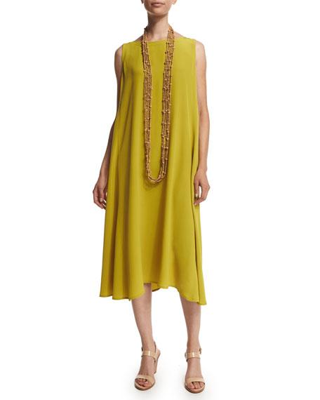 Eskandar Sleeveless Bateau-Neck Dress & Multi-Strand Beaded