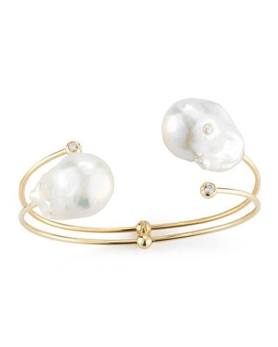 Double-Pearl & Diamond Cuff Bracelet