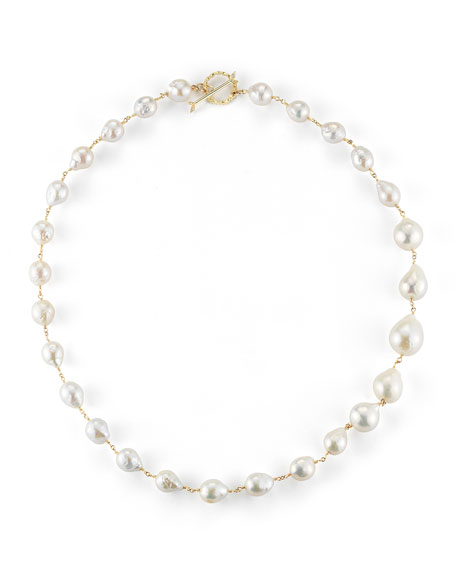 "Single-Strand Pearl Necklace, 20""L"
