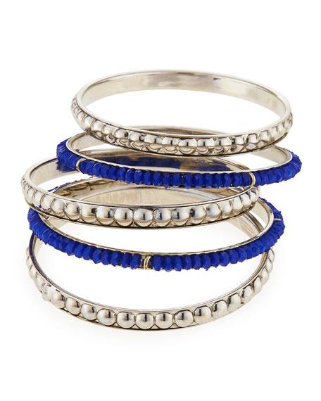 Beaded Bangle Bracelets, Set of 5