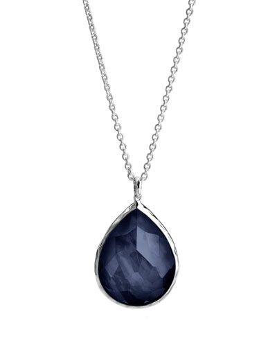 925 Large Teardrop Pendant Necklace, Midnight