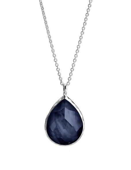 925 Large Teardrop Pendant Necklace, Midnight