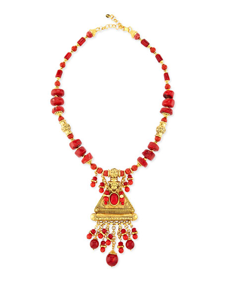 24k Gold Coral Bead Pendant Necklace