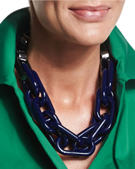Mixed Chain Link Necklace, Navy