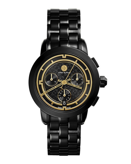 Tory Burch Watches Tory 37mm Black IP Chronograph Watch
