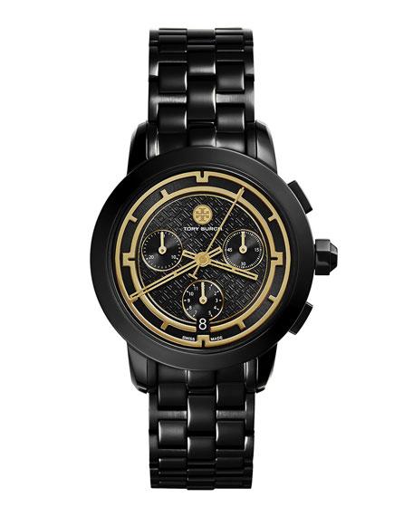 Tory Burch Tory 37mm Black IP Chronograph Watch