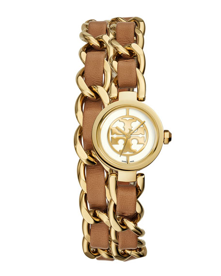 Tory Burch Watches Mini Reva 20mm Chain Strap Watch, Luggage