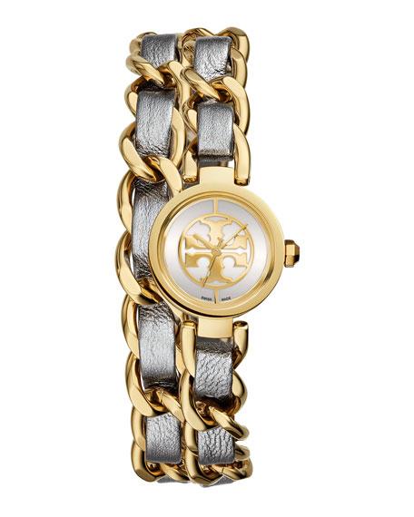 Tory Burch Watches Mini Reva 20mm Chain Strap Watch, Ivory