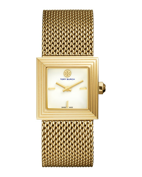 Tory Burch Watches Sawyer 25mm Onyx Mesh-Strap Watch