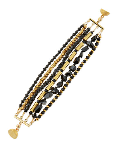 Spinel & Onyx Multi-Row Bracelet