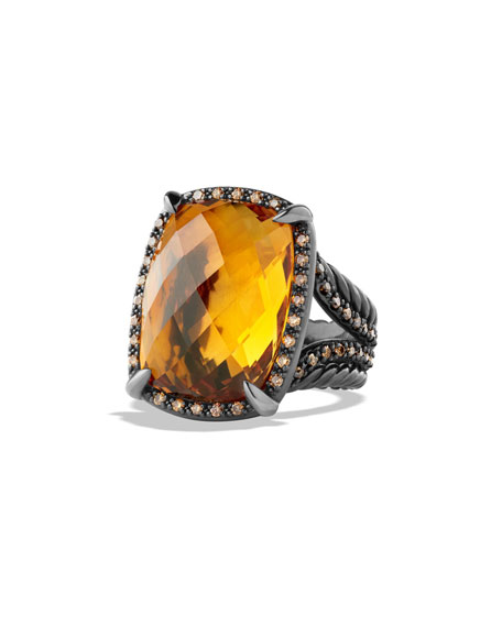 David Yurman Châtelaine Cognac Diamond & Citrine Ring