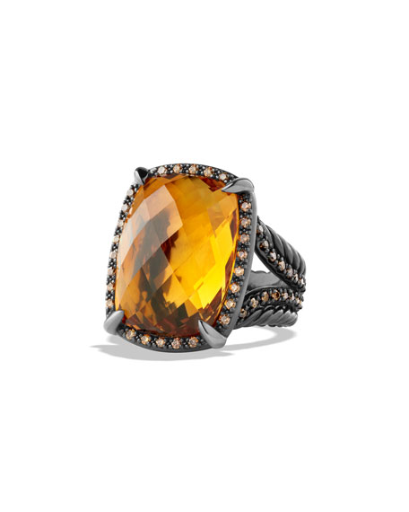 David Yurman Chatelaine Ring with Citrine and Cognac