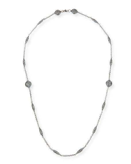 """Sterling Etched Dot Chain Necklace, 36""""L"""