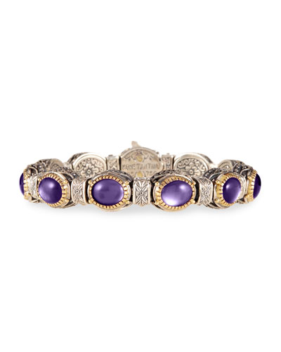 Erato Etched Silver Link Bracelet