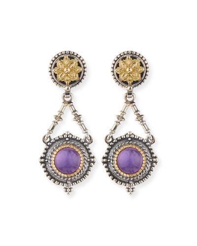 Silver & 18k Amethyst Dangle Earrings
