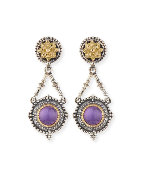 Silver & 18k Amethyst Dangle Earrings