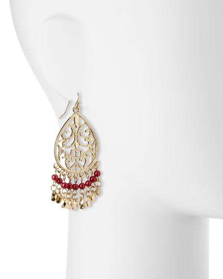 Antique Filigree Dangle Earrings, Red