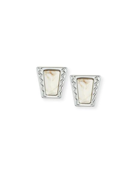 Rebecca Minkoff Cabochon Stud Earrings, Silver/White