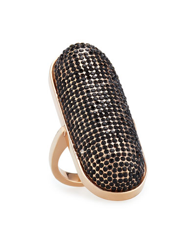 Pave ID Ring, Rose Golden/Black