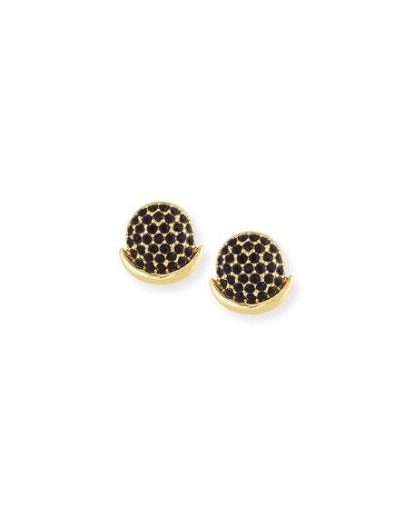 Pavé Moon Stud Earrings, Golden