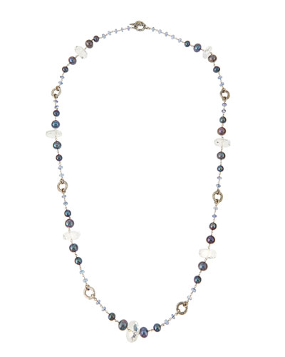 Single-Strand Gray & Blue Pearl Necklace