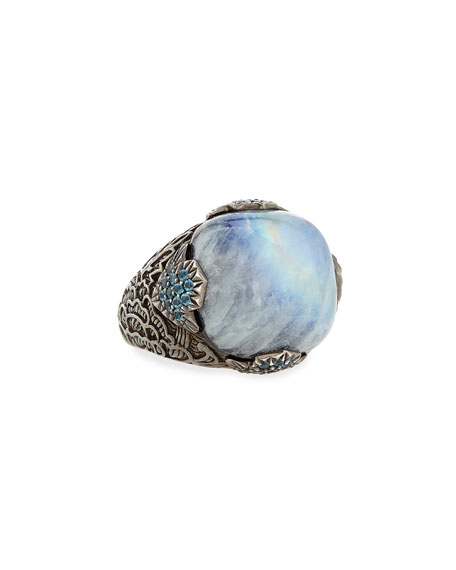 18mm Moonstone & Agate Ring