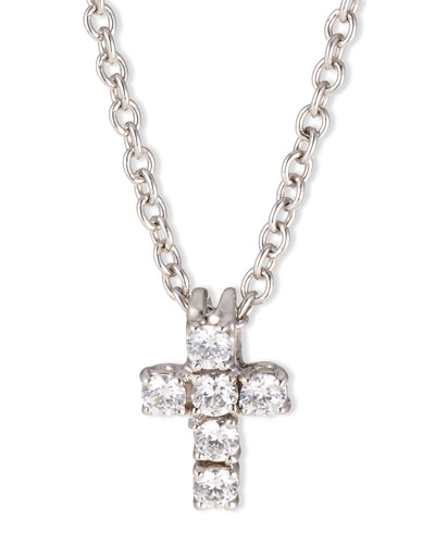 Small CZ Cross Pendant Necklace