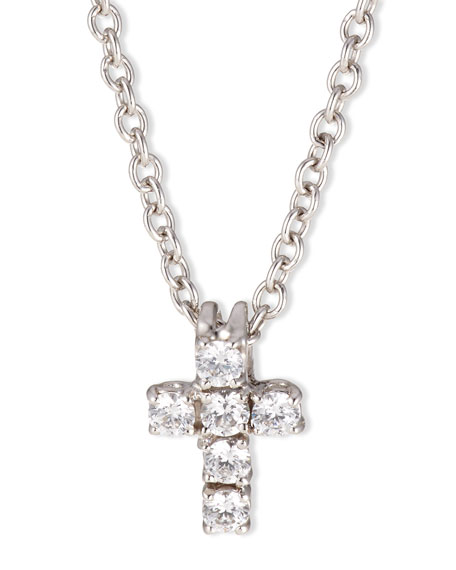 Fantasia by DeSerio Small CZ Cross Pendant Necklace