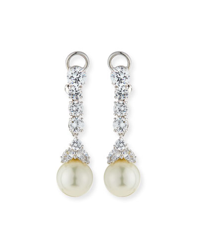 CZ & Simulated Pearl Long Drop Earrings