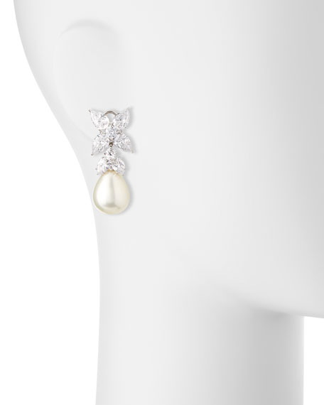 Flower Top CZ & Simulated Pearl Drop Earrings